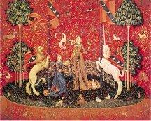 détail de la tapisserie de la dame à la licorne